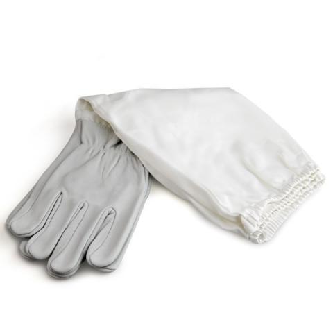 """Перчатки кожаные серые, с нарукавниками """"PU Leather"""""""