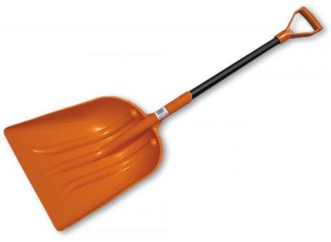Лопата пластиковая 130 см, с металлическим черенком, оранжевая