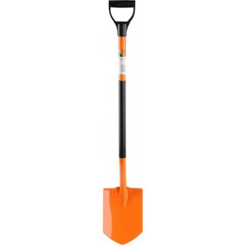 Лопата прямая, остроконечная с металлическим черенком, orange - FLO