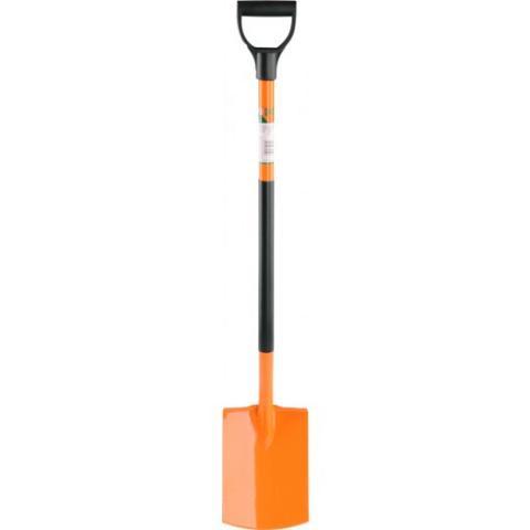 Лопата прямая с металлическим черенком, orange - FLO