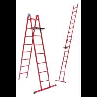 Лестница универсальная металлическая 8 ступеней со столиком, h=2150-4740 мм