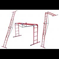 Лестница трансформер металлическая 4*4 ступени, h=1310-2330-4800 мм