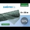 Сетка затеняющая KARATZIS зелёная, размер 6х50 м, тень 50% - Греция